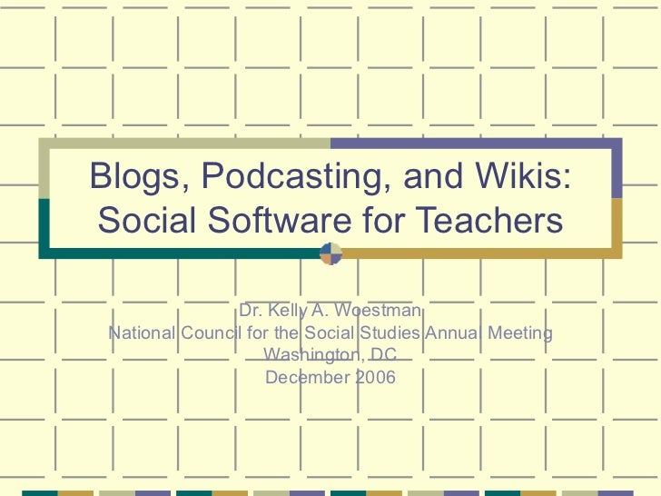 Blogs, Podcasting, and Wikis: Social Software for Teachers Dr. Kelly A. Woestman National Council for the Social Studies A...