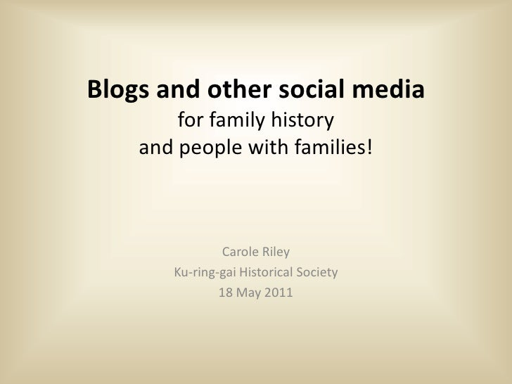 Blogs and other social media