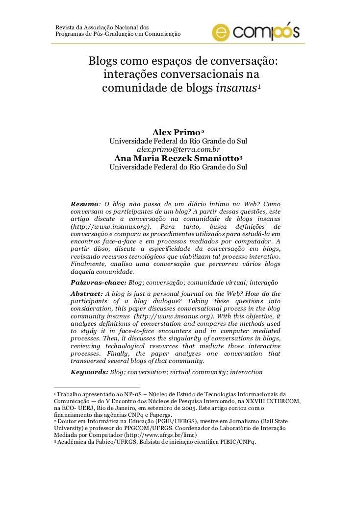 Revista da Associação Nacional dosProgramas de Pós-Graduação em Comunicação           Blogs como espaços de conversação:  ...
