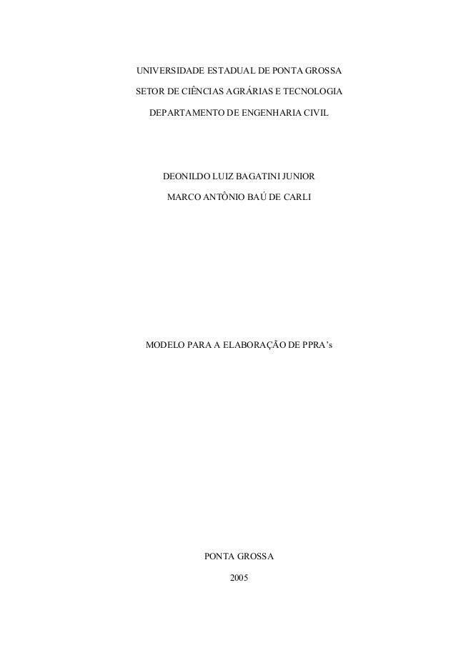 UNIVERSIDADE ESTADUAL DE PONTA GROSSASETOR DE CIÊNCIAS AGRÁRIAS E TECNOLOGIA  DEPARTAMENTO DE ENGENHARIA CIVIL     DEONILD...
