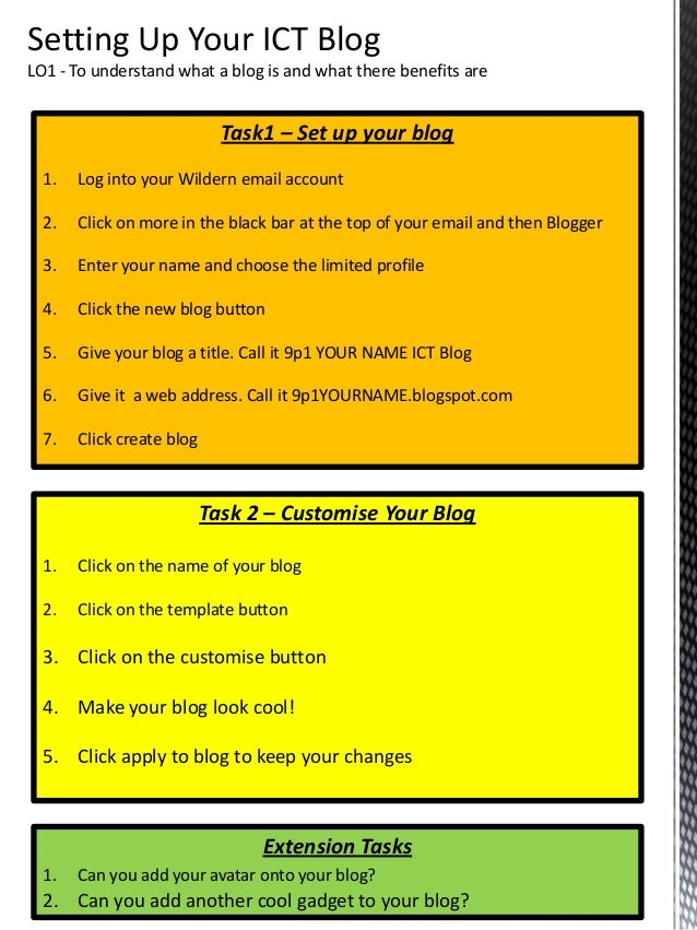 Task1 – Set up your blog 1. Log into your Wildern email account 2. Click on more in the black bar at the top of your email...