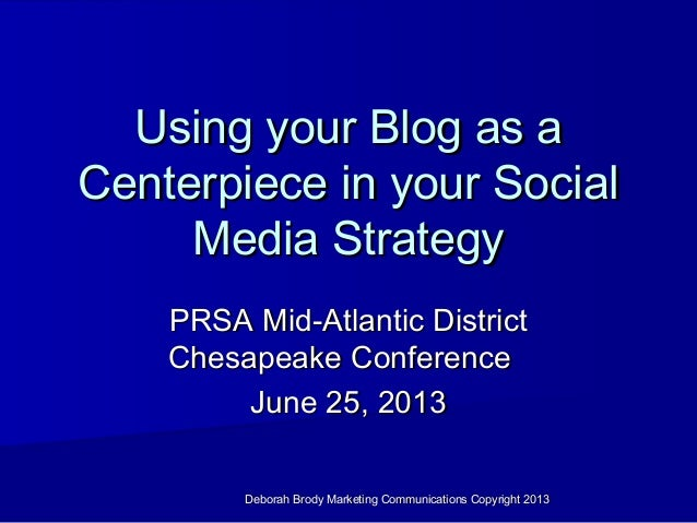 Deborah Brody Marketing Communications Copyright 2013Deborah Brody Marketing Communications Copyright 2013Using your Blog ...