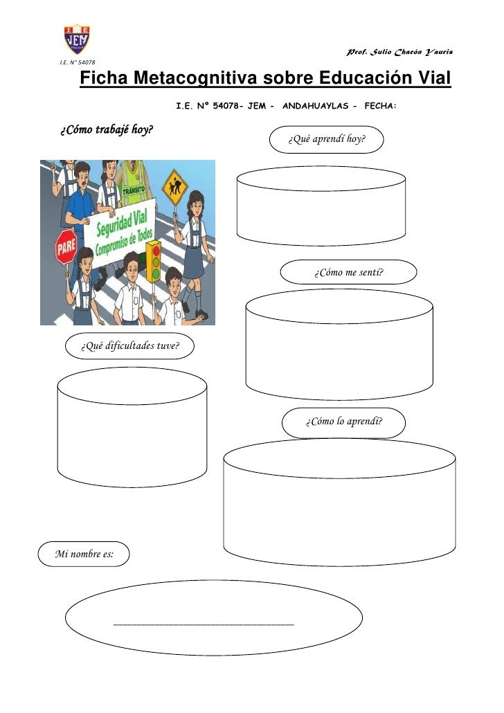 Ficha Metacognitiva sobre Educación Vial<br />I.E. Nº 54078- JEM -  ANDAHUAYLAS -  FECHA: <br />¿Qué aprendí hoy?¿Cómo tra...