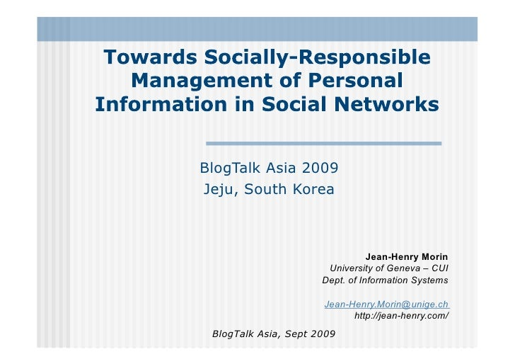 Towards Socially-Responsible Management of Personal Information in Social Networks