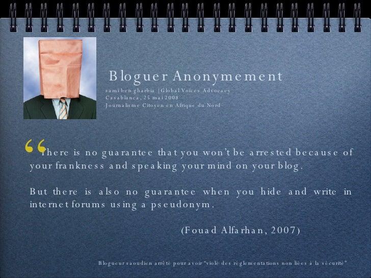 Bloguer Anonymement