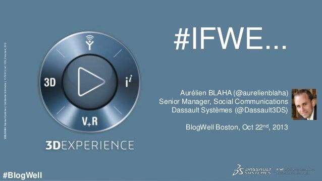 3DS.COM © Dassault Systèmes | Confidential Information | 11/7/2013 | ref.: 3DS_Document_2013  #BlogWell  #IFWE... Aurélien...