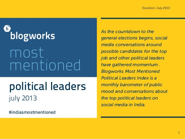 Duration: July 2013 most mentioned political leaders july 2013 #indiasmostmentioned As the countdown to the general electi...