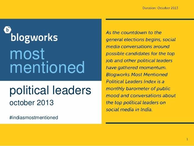 Blogworks most mentioned political leaders index  - October 2013