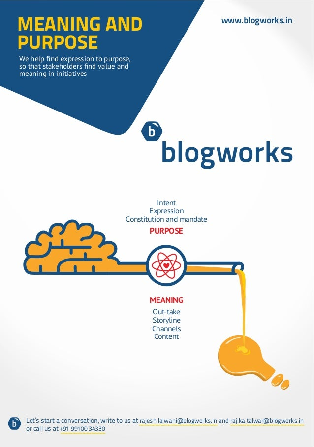 MEANING AND                                                              www.blogworks.inPURPOSEmeaning in initiatives    ...