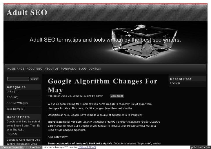 Blog xseo Google Algorithm Changes For May