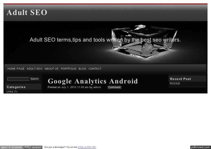 Adult SEO                   Adult SEO terms,tips and tools written by the best seo writers.    HOME PAGE ADULT SEO ABOUT U...