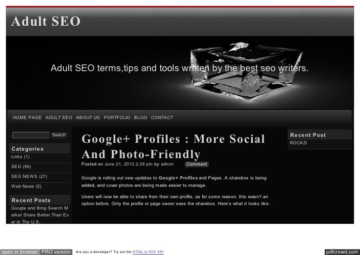 Adult SEO                    Adult SEO terms,tips and tools written by the best seo writers.    HOME PAGE ADULT SEO ABOUT ...