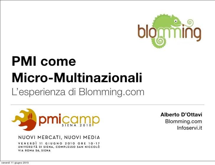 Pmi e innovazione: Presentazione PMI come Micro-Multinazionali