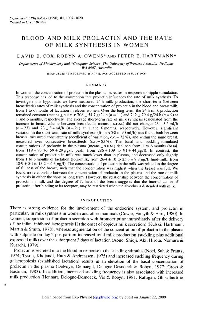 Experimental Physiology (1996), 81, 1007-1020 Printed in Great Britain          BLOOD AND MILK PROLACTIN AND THE RATE     ...