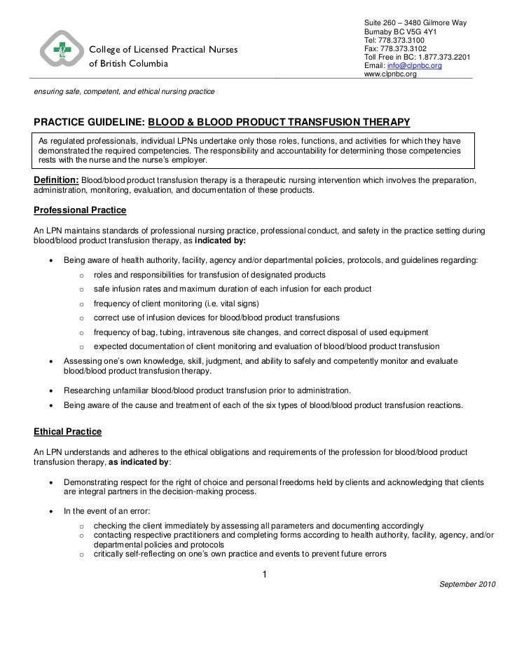 Blood  blood product transfusion therapy pg rev.092310