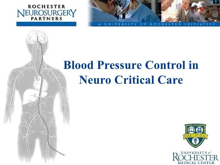Blood Pressure Control in Neuro ICU