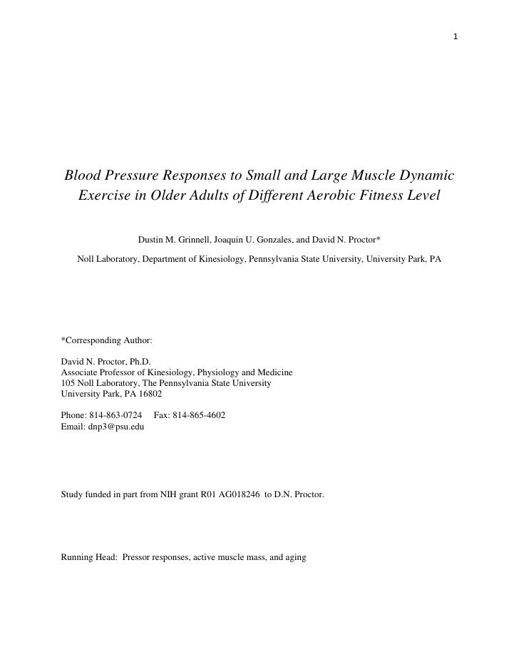 1     Blood Pressure Responses to Small and Large Muscle Dynamic   Exercise in Older Adults of Different Aerobic Fitness L...