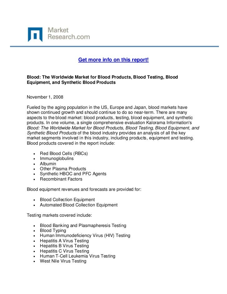 Blood: The Worldwide Market for Blood Products, Blood Testing, Blood Equipment, and Synthetic Blood Products