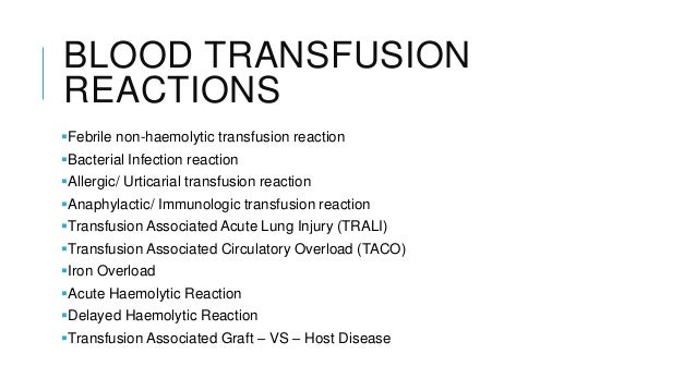 Blood transfusion reactions and complications