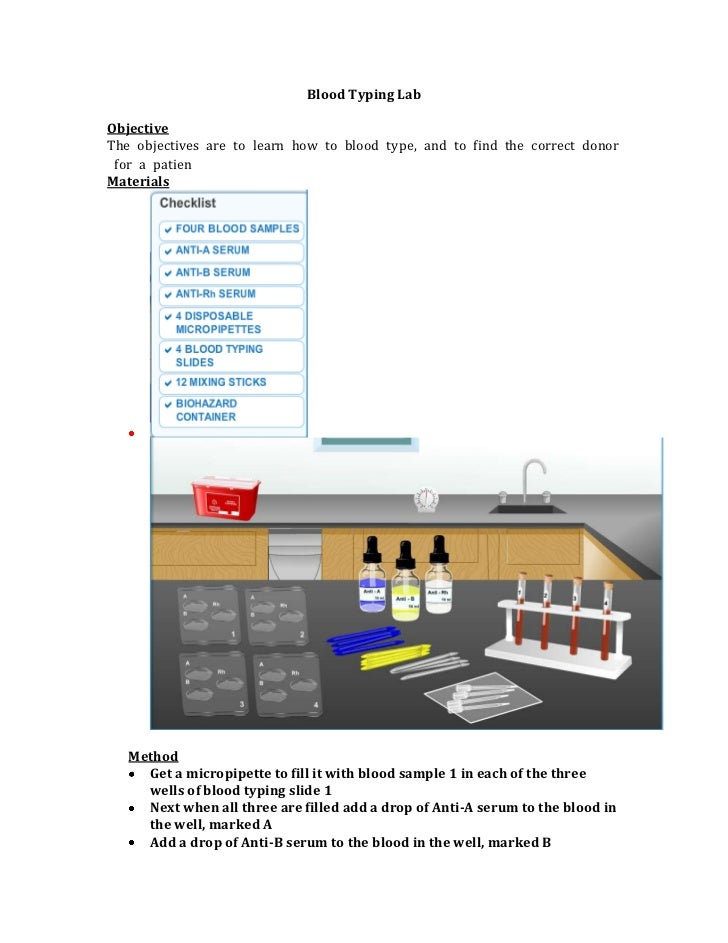 Blood Typing LabObjectiveTheobjectivesaretolearnhowtobloodtype,andtofindthecorrectdonorforapatienMaterial...