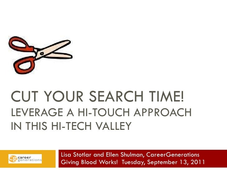CUT YOUR SEARCH TIME! LEVERAGE A HI-TOUCH APPROACH  IN THIS HI-TECH VALLEY Lisa Stotlar and Ellen Shulman, CareerGeneratio...