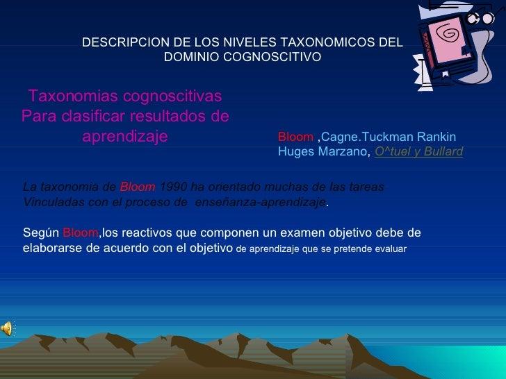 DESCRIPCION DE LOS NIVELES TAXONOMICOS DEL DOMINIO COGNOSCITIVO Taxonomias cognoscitivas Para clasificar resultados de apr...
