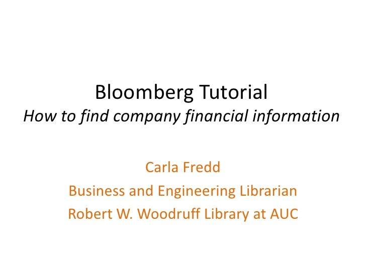 Bloomberg Tutorial Company Financial