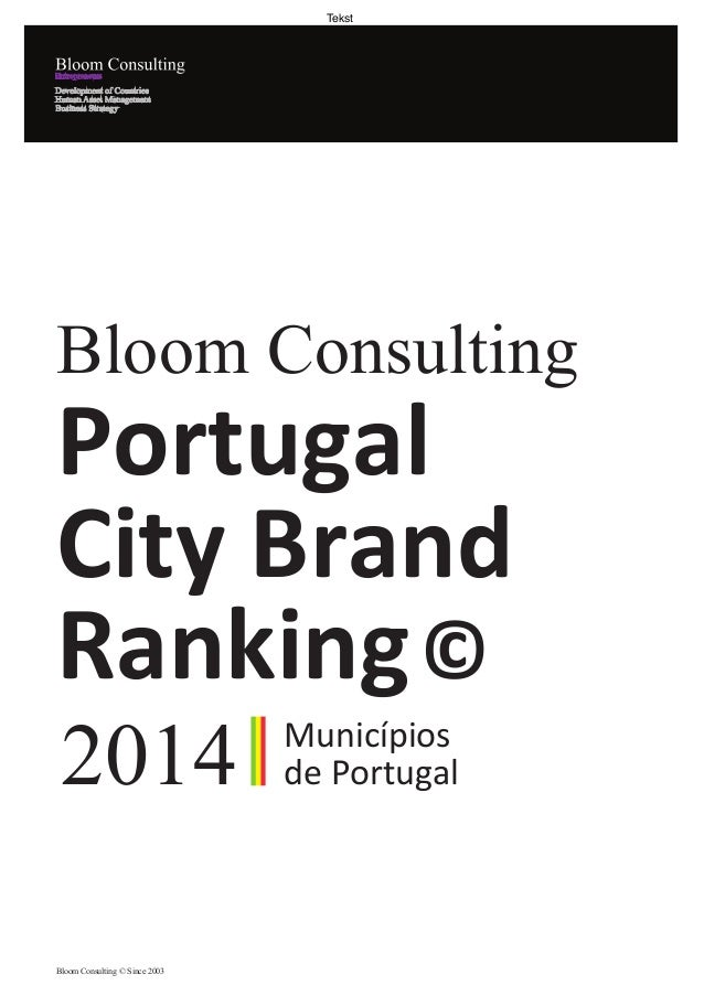 Bloom Consulting City Brand Ranking 2014 Portugal