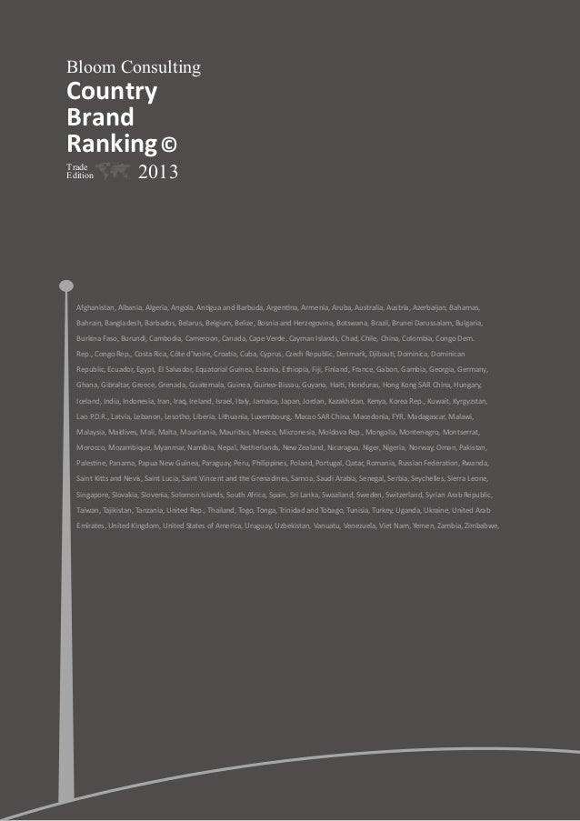 Bloom Consulting  Country Brand Ranking © Trade Edition  2013  Afghanistan, Albania, Algeria, Angola, Antigua and Barbuda,...