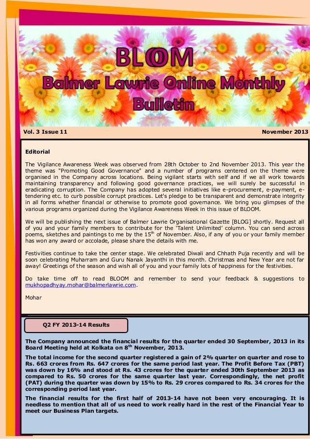 Vol. 3 Issue 11  November 2013  Editorial The Vigilance Awareness Week was observed from 28th October to 2nd November 2013...