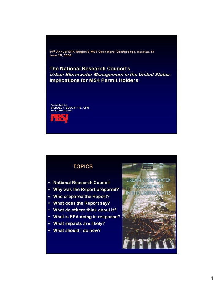 NRC\'s Urban Stormwater Management in the United States: Implications for MS4 Permi Holders