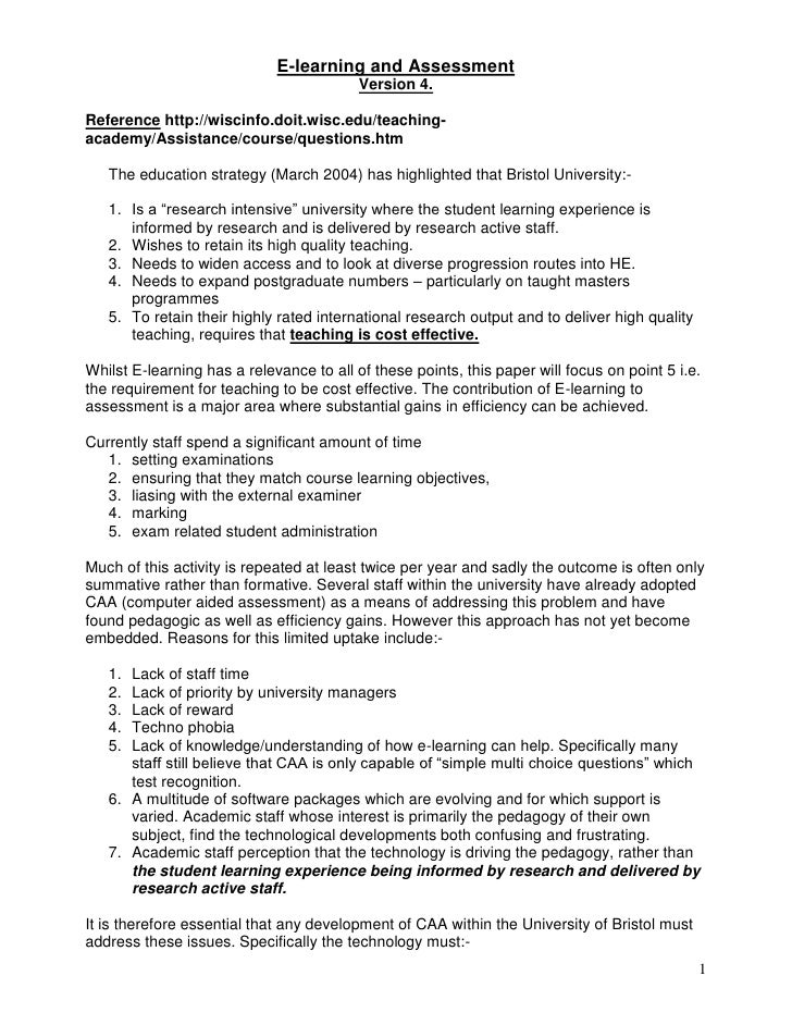 E-learning and Assessment<br />Version 4.<br />Reference http://wiscinfo.doit.wisc.edu/teaching-academy/Assistance/course/...