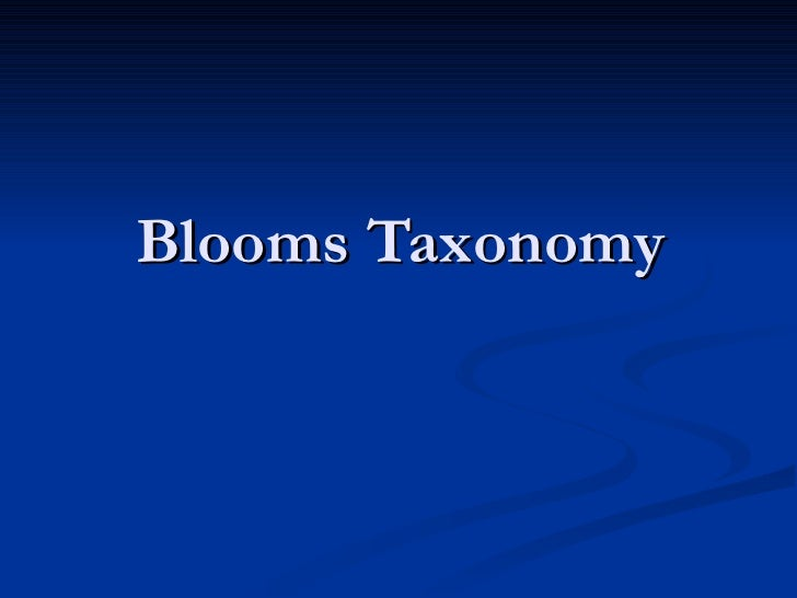 Blooms Taxonomyof Instructional Activities