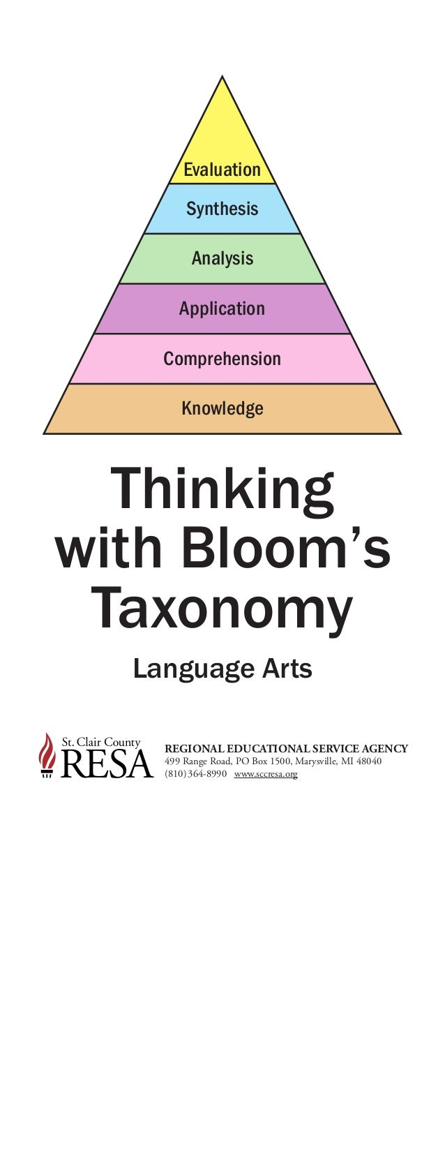 Thinking with Bloom's Taxonomy Language Arts Evaluation Synthesis Analysis Application Comprehension Knowledge REGIONAL ED...