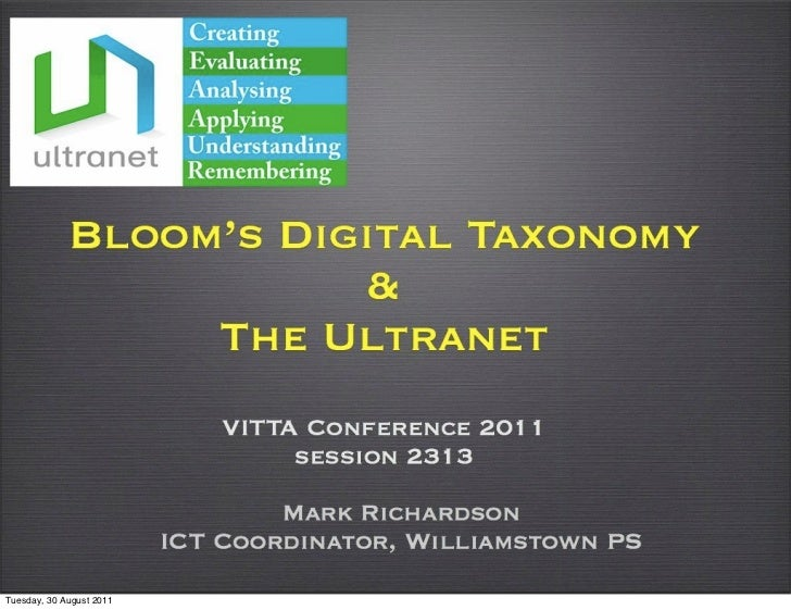 Blooms Digital Taxonomy and the Ultranet