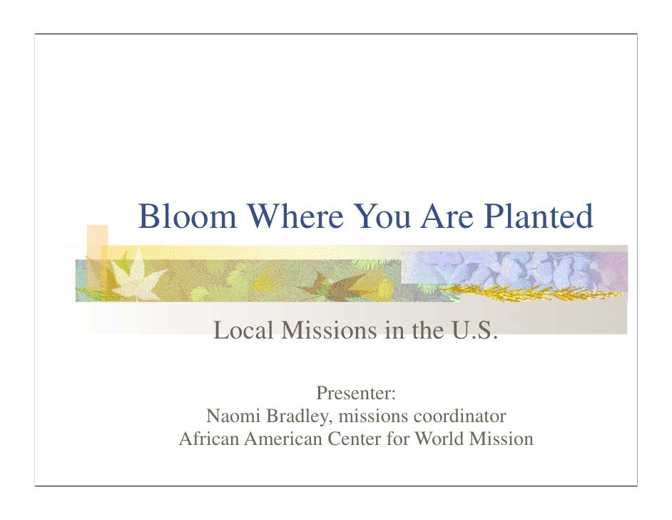 Bloom Where You Are Planted        Local Missions in the U.S.                   Presenter:      Naomi Bradley, missions co...