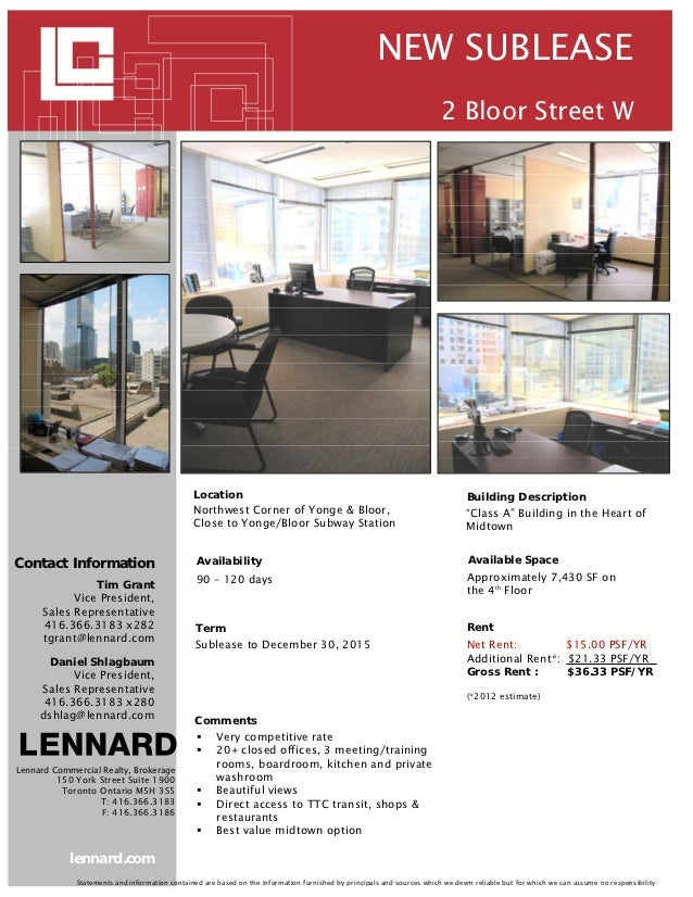 NEW SUBLEASE                                                                                                              ...