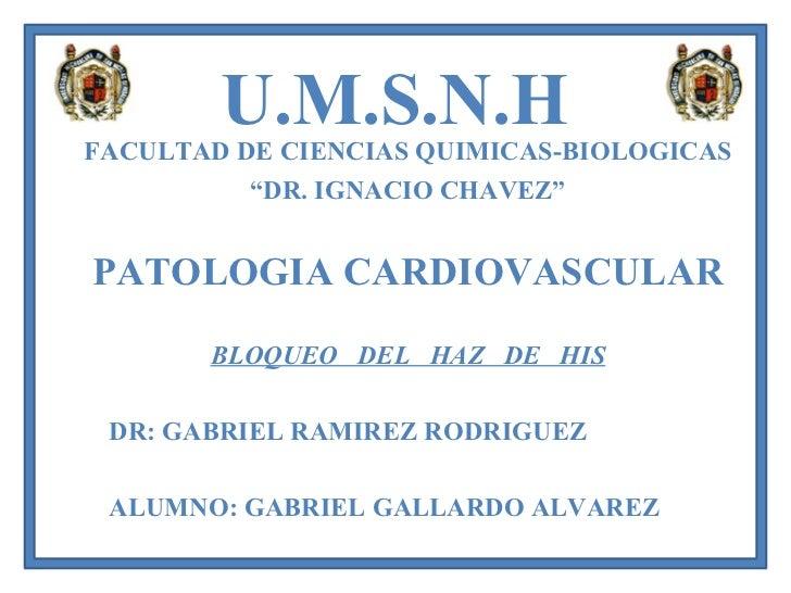 """U.M.S.N.H FACULTAD DE CIENCIAS QUIMICAS-BIOLOGICAS """" DR. IGNACIO CHAVEZ"""" PATOLOGIA CARDIOVASCULAR BLOQUEO  DEL  HAZ  DE  H..."""