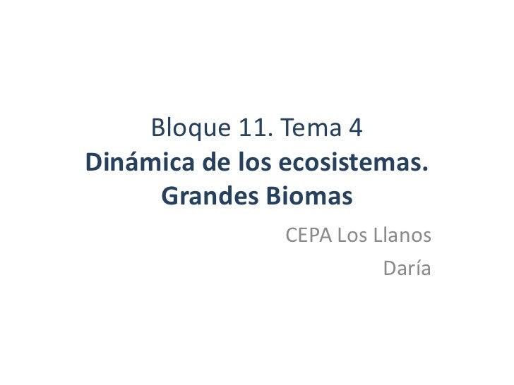 Bloque 11. Tema 4Dinámica de los ecosistemas.     Grandes Biomas                CEPA Los Llanos                          D...