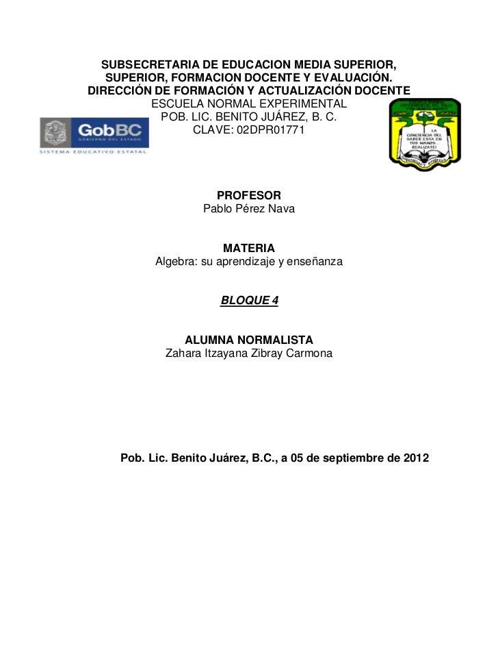 SUBSECRETARIA DE EDUCACION MEDIA SUPERIOR,   SUPERIOR, FORMACION DOCENTE Y EVALUACIÓN.DIRECCIÓN DE FORMACIÓN Y ACTUALIZACI...
