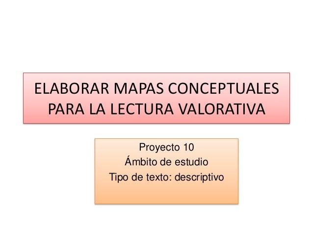 ELABORAR MAPAS CONCEPTUALES PARA LA LECTURA VALORATIVA Proyecto 10 Ámbito de estudio Tipo de texto: descriptivo