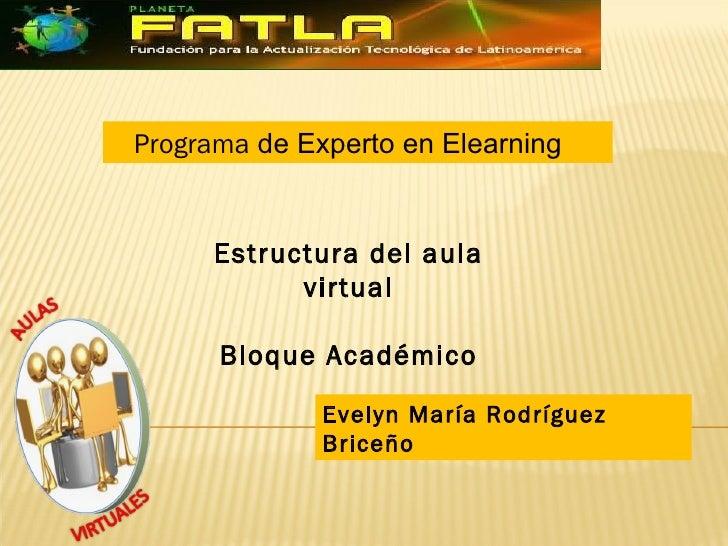 Programa de Experto en Elearning     Estructura del aula           virtual      Bloque Académico              Evelyn María...