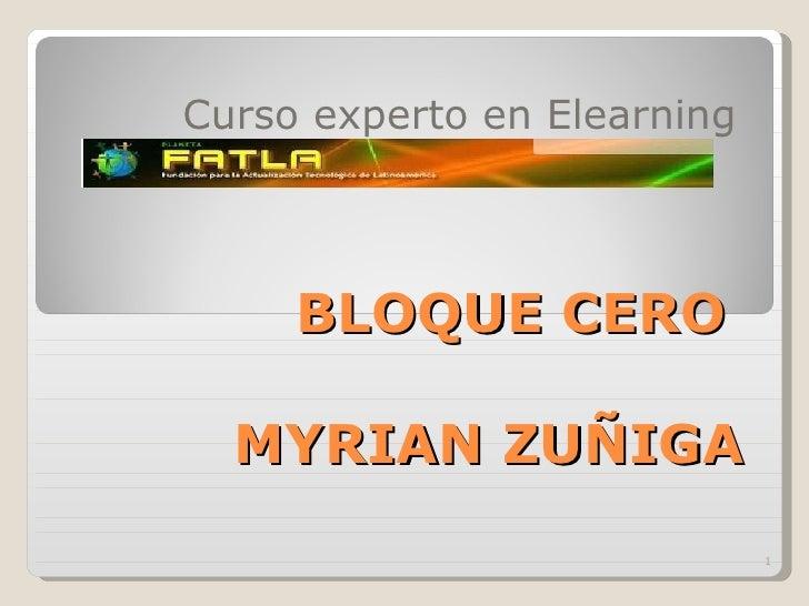 BLOQUE CERO  MYRIAN ZUÑIGA Curso experto en Elearning