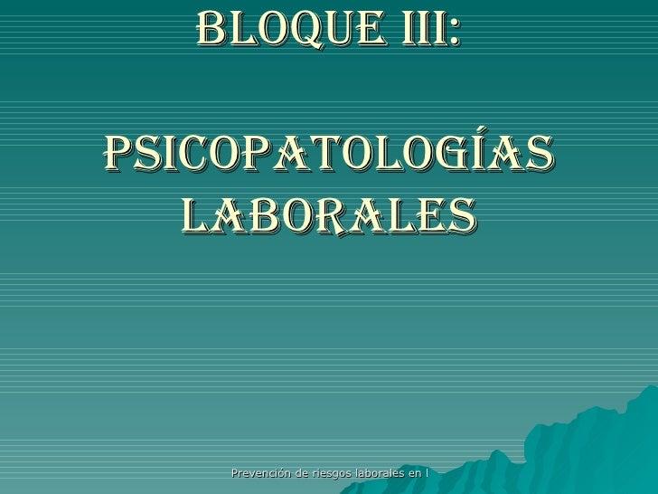 Bloque III