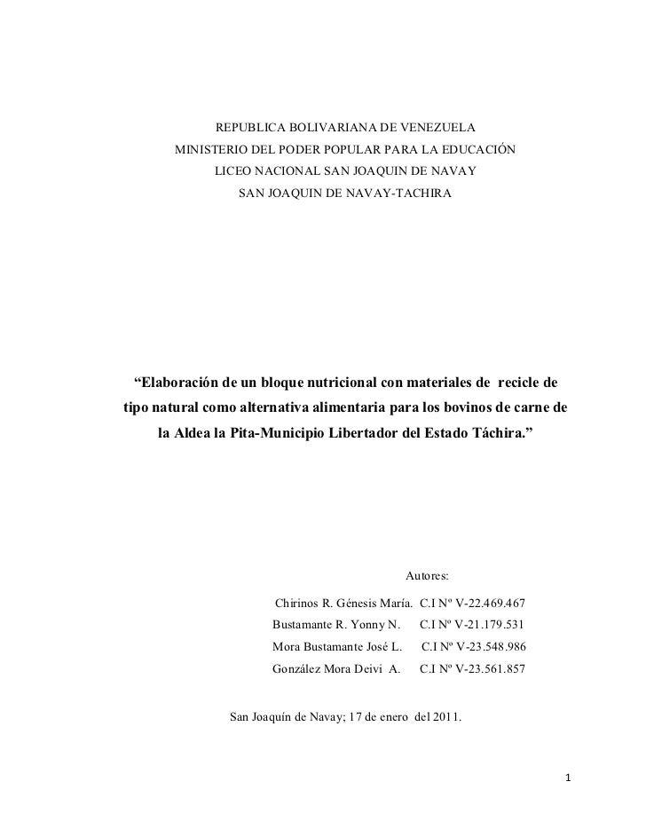 REPUBLICA BOLIVARIANA DE VENEZUELA        MINISTERIO DEL PODER POPULAR PARA LA EDUCACIÓN              LICEO NACIONAL SAN J...