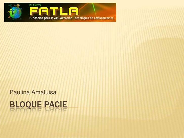 BLOQUE PACIE<br />Paulina Amaluisa<br />