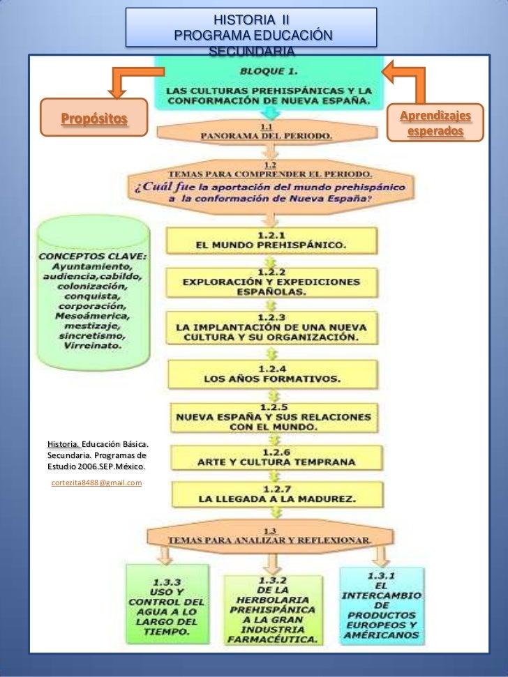 HISTORIA  II<br /> PROGRAMA EDUCACIÓN  SECUNDARIA <br />Propósitos<br />Aprendizajes esperados <br />Historia. Educación B...