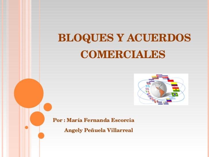 BLOQUES Y ACUERDOS COMERCIALES  Por : María Fernanda Escorcia  Angely Peñuela Villarreal