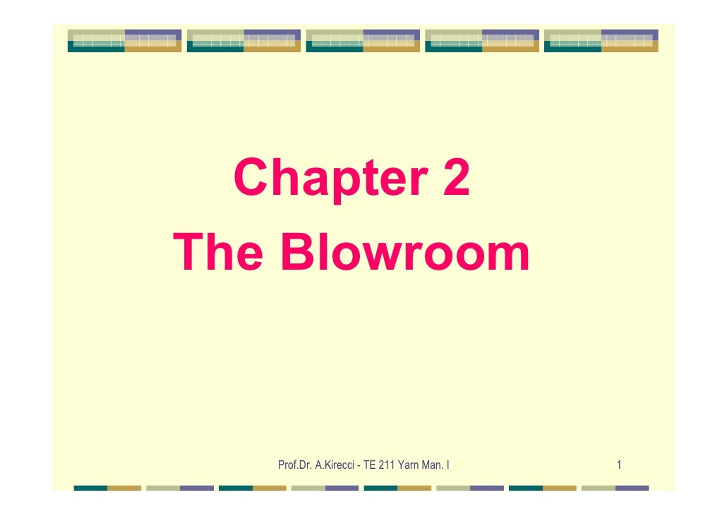 Chapter 2The Blowroom   Prof.Dr. A.Kirecci - TE 211 Yarn Man. I   1
