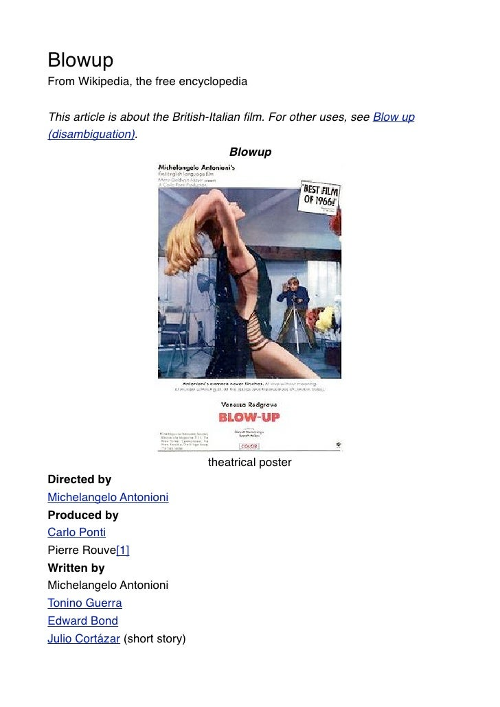 Blowup From Wikipedia, the free encyclopedia   This article is about the British-Italian film. For other uses, see Blow up ...